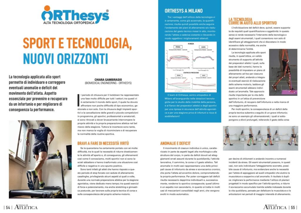 Sport e tecnologia Orthesys articolo Voglia di Atletica