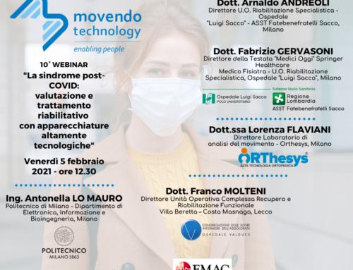 """10° Webinar Movendo Technology – """"La sindrome post-COVID: valutazione e trattamento riabilitativo con apparecchiature altamente tecnologiche"""""""