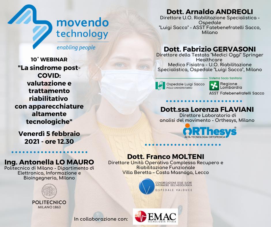 """10° Webinar Movendo Technology - """"La sindrome post-COVID: valutazione e trattamento riabilitativo con apparecchiature altamente tecnologiche"""" 1"""